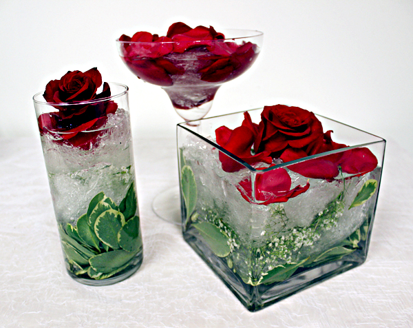 Winter Flower Arrangement Made with Saran Wrap and Roses
