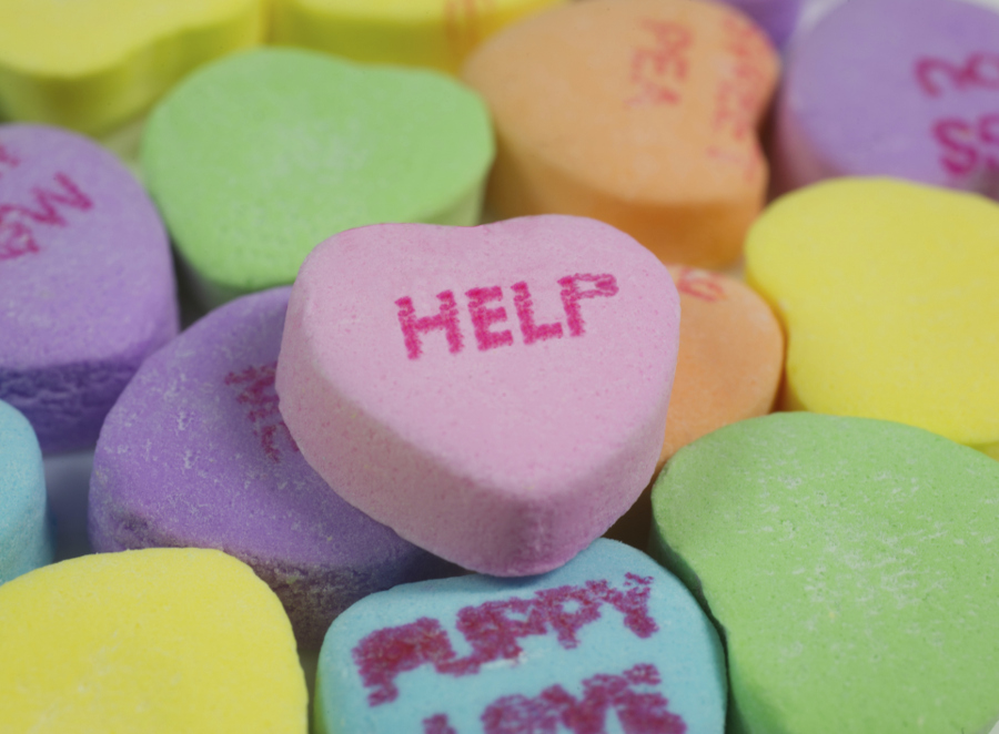 "Valentine's Day Sweethearts that say ""help"""