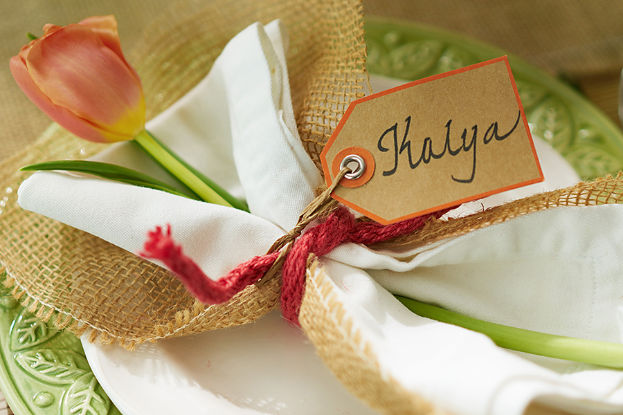 Wired Ribbon Napkin Ring with Burlap and Tulip