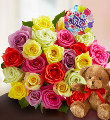 Assorted Roses with Birthday balloon and stuffed bear