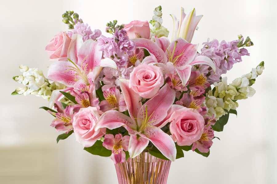 Mixed Mother's Day Arrangement Pink Roses & Lilies
