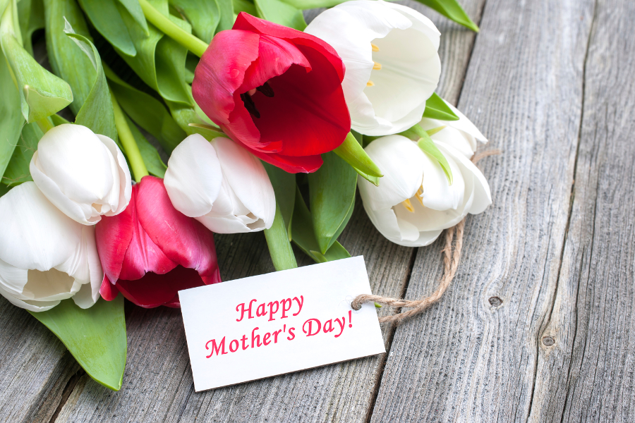 Tulips with Happy Mother's Day Tag