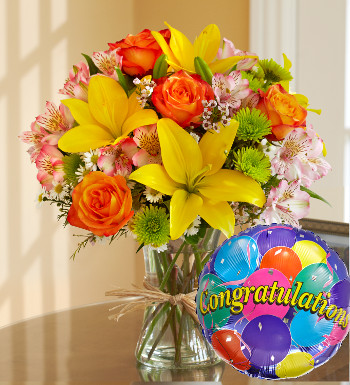 Yellow Lilies & Orange Roses Arrangement with Congratulations Balloon
