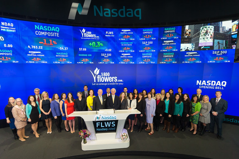 Group Picture of 1-800-Flowers employees at Nasdaq