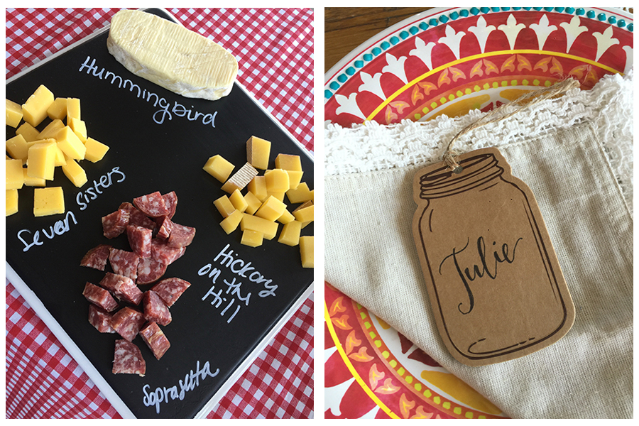 Chalkboard Cheese Board and Cardboard Name Tag
