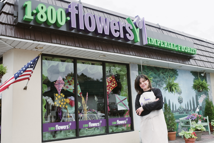 Ann Marie Pierce in Front of Her Baldwin, NY Flower Shop