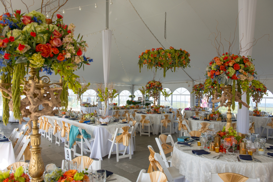 flowers-hanging-from-tent-ceiling