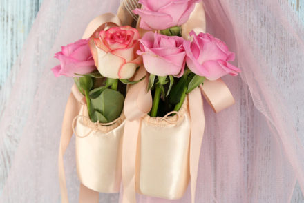 Ballet shoes with flowers