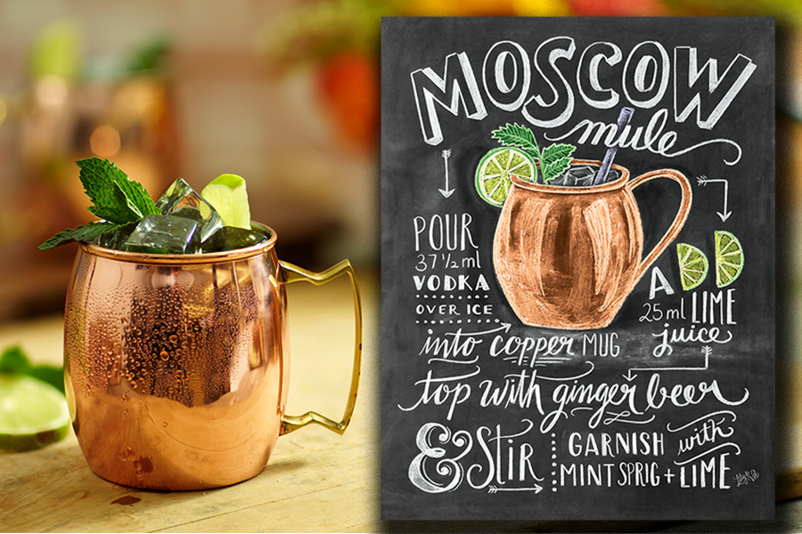 Moscow Mule Drink & Chalkboard Printout