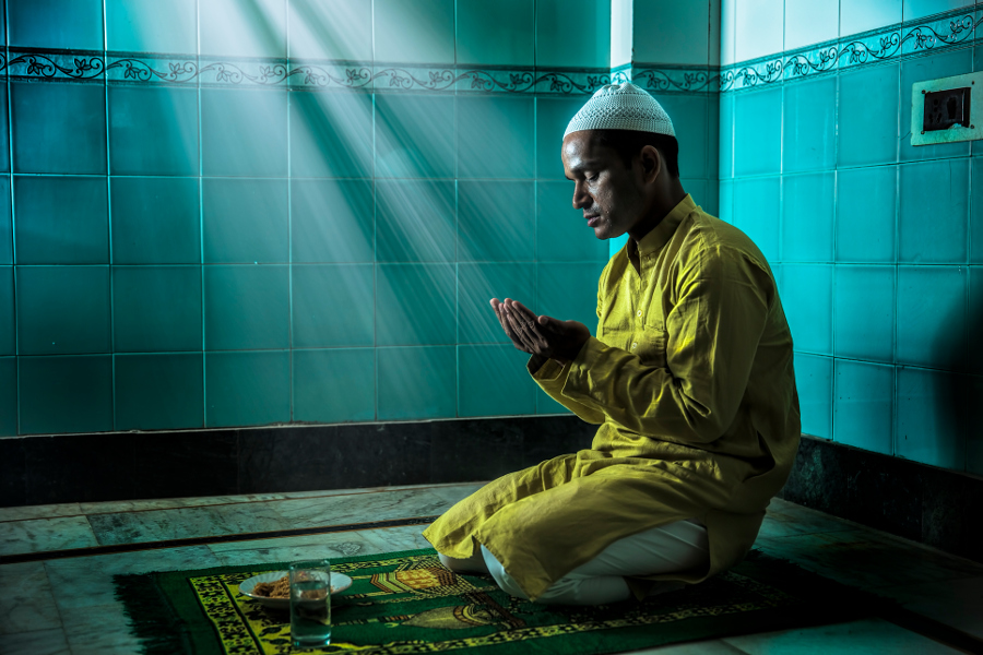 Muslim Man Praying During Mawlid al-Nabi