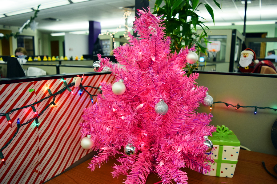 Pink Christmas Tree Office Desk Candylannd