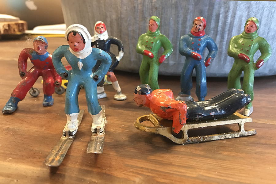 Vintage Metal Winter Skater Figurines