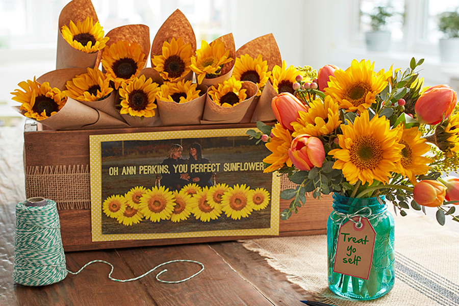 Single Sunflower Stem Party Favor