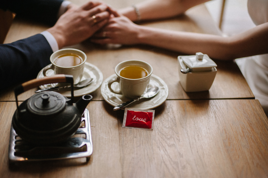 Couple Drinking Tea at Cafe