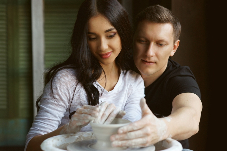 Couple making Pottery
