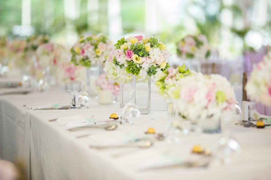Floral Wedding Centerpieces on a Table