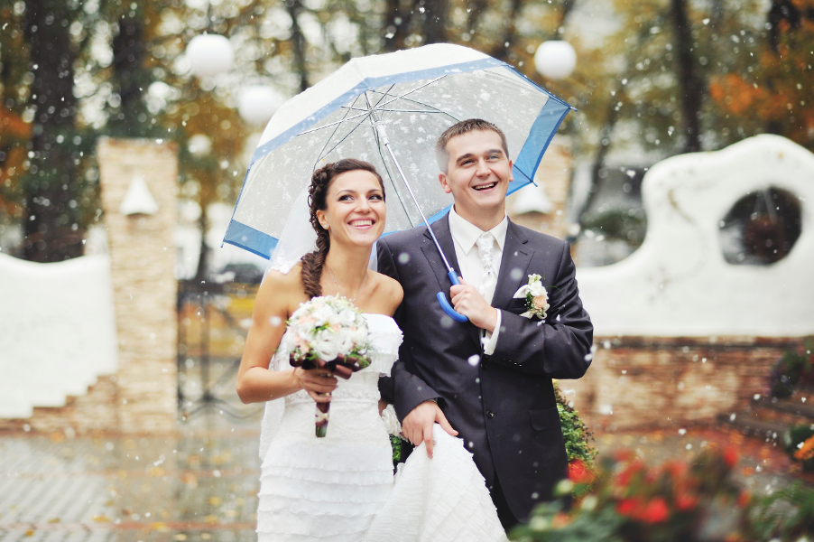 Bride & Bouquet Under Umbrella