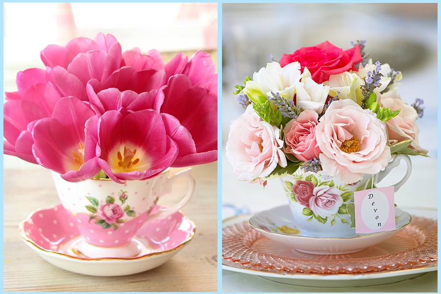 Teacups with pink flowers