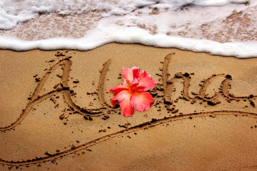 Aloha written in sand