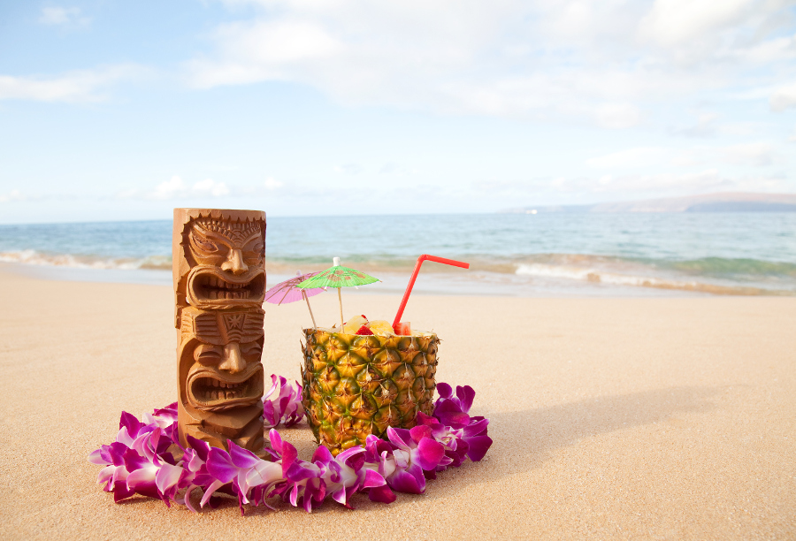 Tiki and Flowers on beach