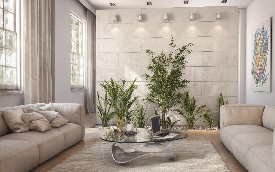 Modern loft with plants