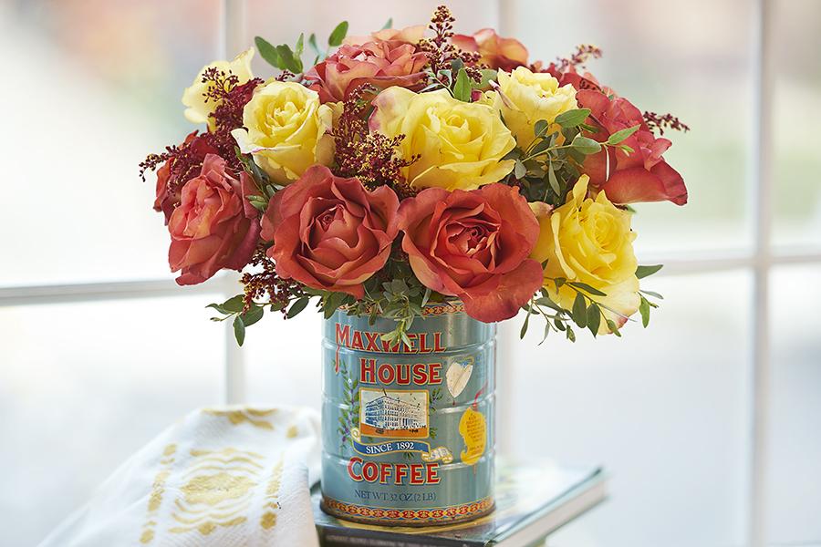 Flower Arrangement in Coffee Can
