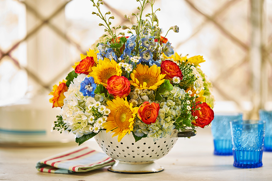 Flower Arrangement in Colander