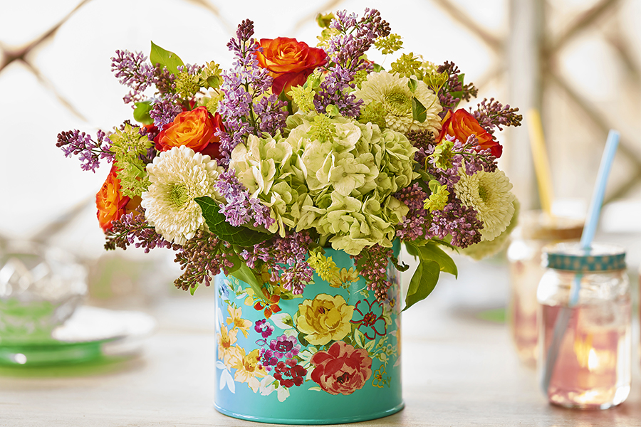 Tin Can Flower Arrangement
