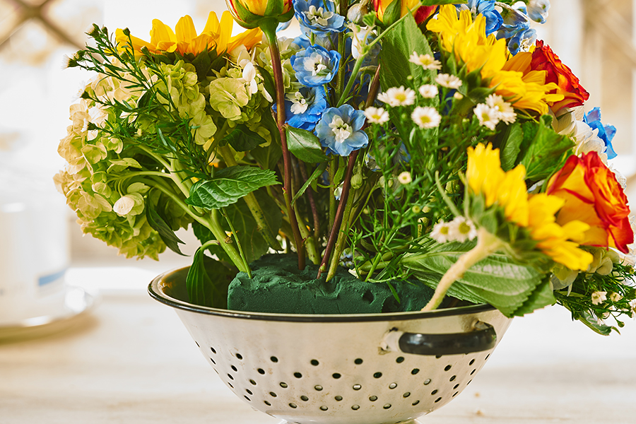 Flowers in Floral Foam Colander Arrangement