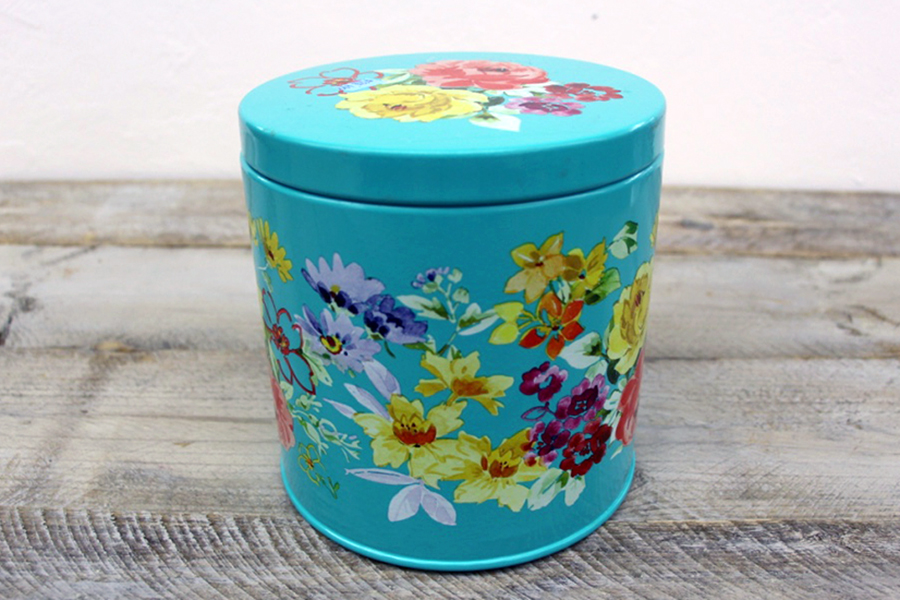 Tin Cannister with Flowers