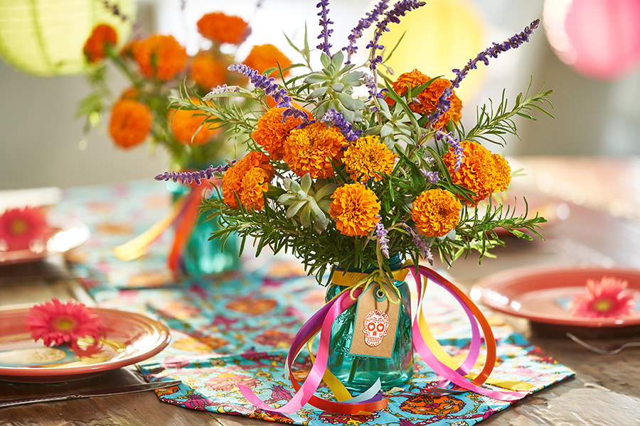 marigolds in day of the dead centerpiece