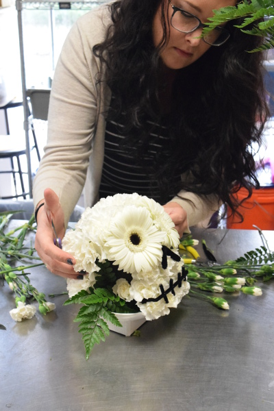 flower skull halloween arrangement
