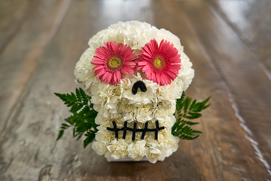 flower sugar skull pink flower eyes
