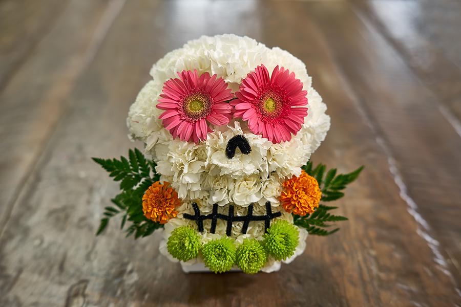 flower sugar skull pink flower marigold flower