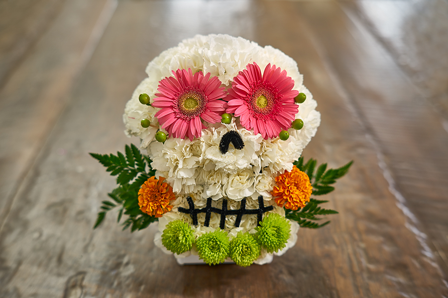 flower sugar skull red flower eyes marigold flowers