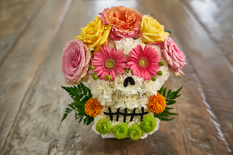 flower sugar skull pink flower eyes colorful flowers