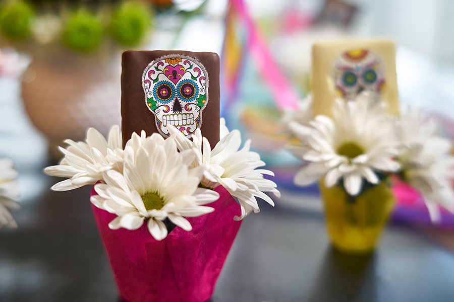 sugar skull chocolate treat with flower holder