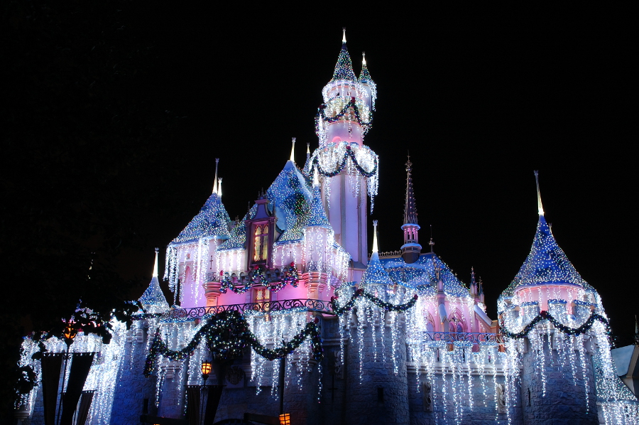 holiday city guide disneyland castle with christmas lights