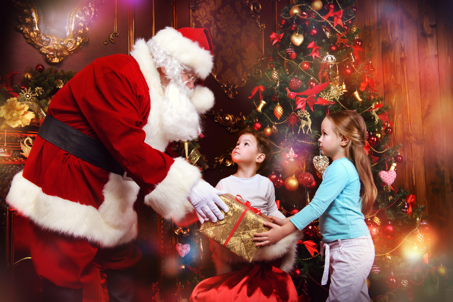 Santa Clause Giving Gifts to Children holiday guide