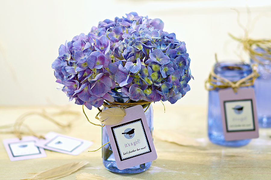 purple hydrangea in a purple mason jar