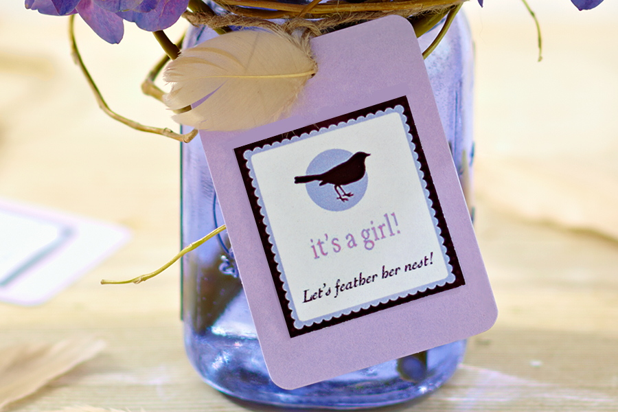 Purple mason jar with gender themed tag