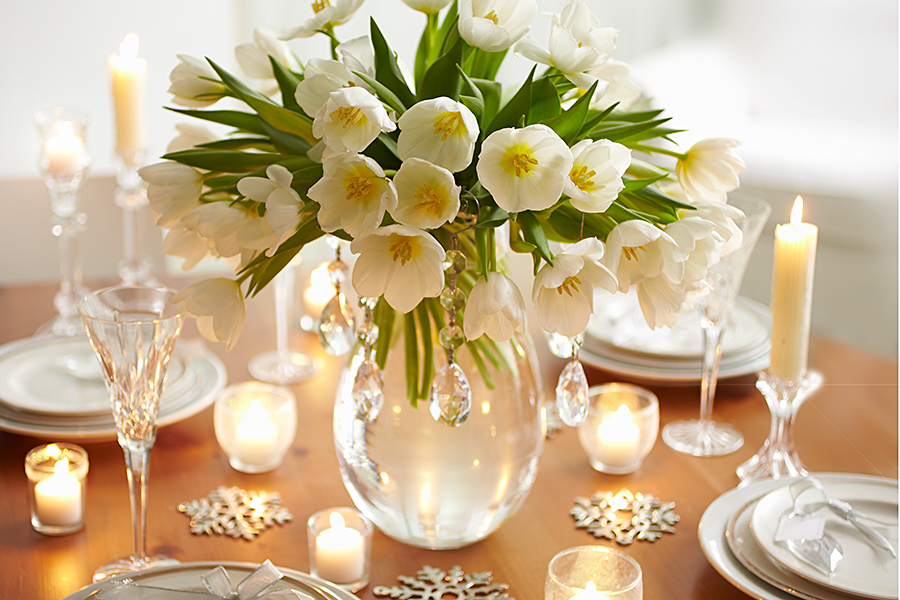 winter white tulip arrangement for table