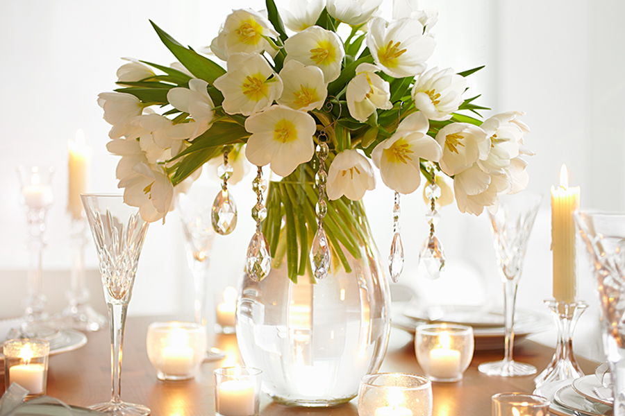 white tulips with hanging crystals for stunning winter centerpiece