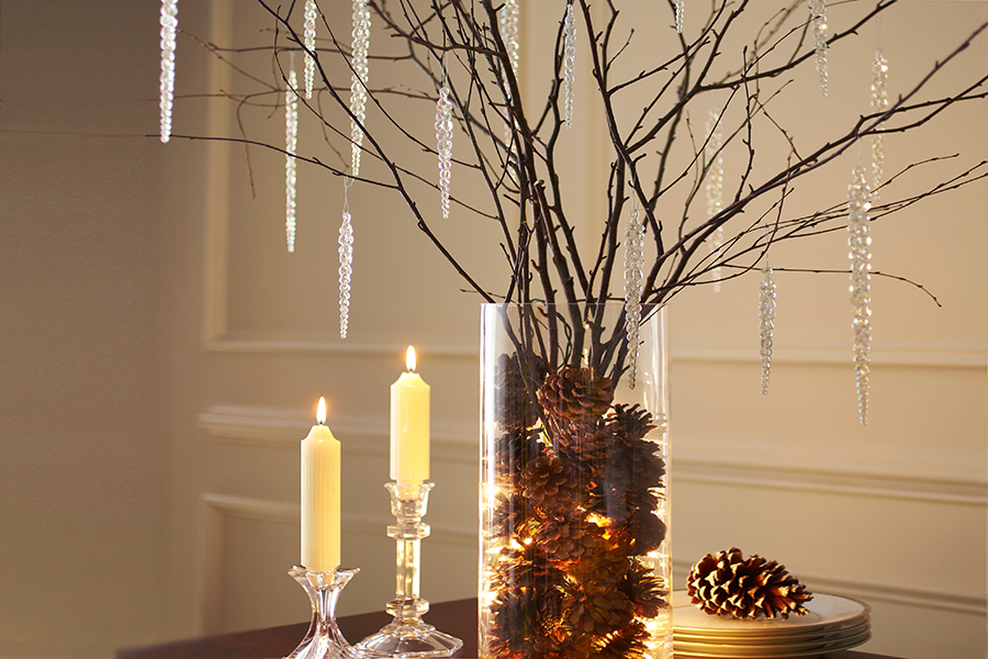winter branch arrangement centerpiece