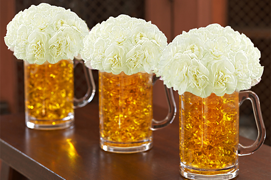 Learn how to make these beer mug flowers by clicking here!