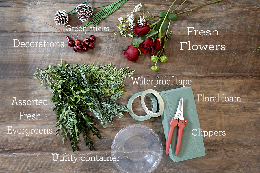 Supplies for Creating a DIY Holiday Flower Tree