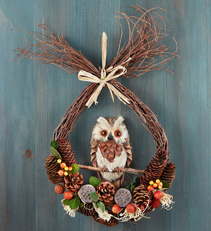 preserved owl fall wreaths