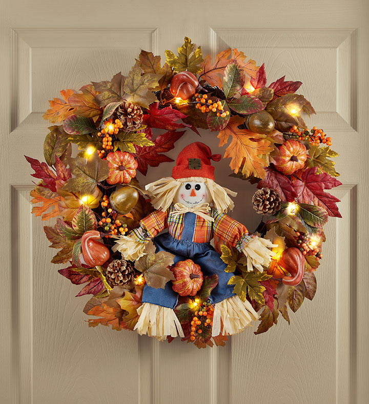 light up scarecrow fall wreaths