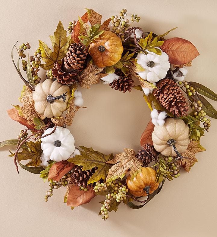 shades of autumn pumpkin spice wreath
