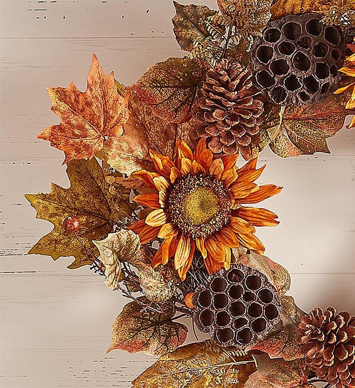 sunflower lotus pod fall wreaths